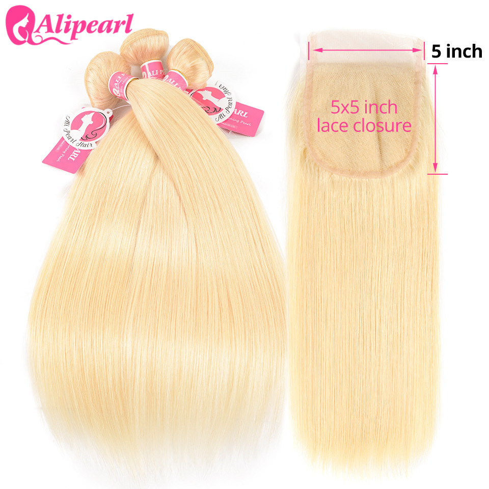AliPearl Hair 613 Blonde Bundles With Closure 5x5 Free Part Brazilian Hair Weave 3 Bundles With Closure Remy Hair Extension image