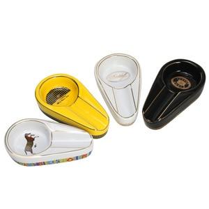 Cigar Gadgets Ceramic Cigar Accessory Single Cigar Holder Round Ash Slot 3 Colors Yellow Tobacco Cigarette Ashtray Gift Crafts