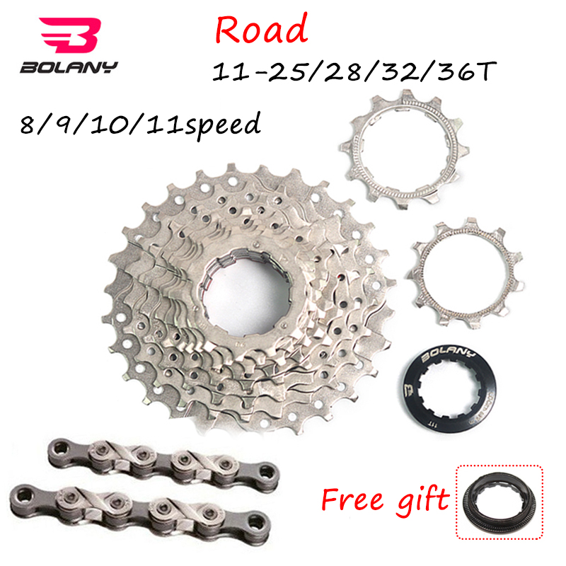 BOLANY 8s/9s/10s/<font><b>11speed</b></font> Cassette Road Bicycle Flywheel 8s-11s Chain 11-25/28/32/36T Bike Sprocket Derailleur Fit <font><b>SRAM</b></font>/Shimano image