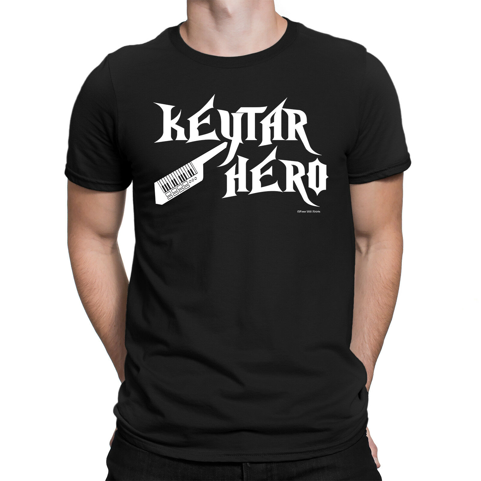 Mens Funny KEYTAR HERO Keyboard Piano Pianist Electric Instrument Music T-Shirt image