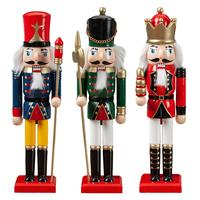 3PCS/Set 30CM Christmas Wooden Soldier King Decoration Dolls Nutcracker Soldier Puppet Jewelry Handcrafts Home Desktop Xmas Gift