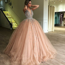 Bling Ball Gown Gold Quinceanera Dresses Rhinestone Puffy Tulle Prom Dr