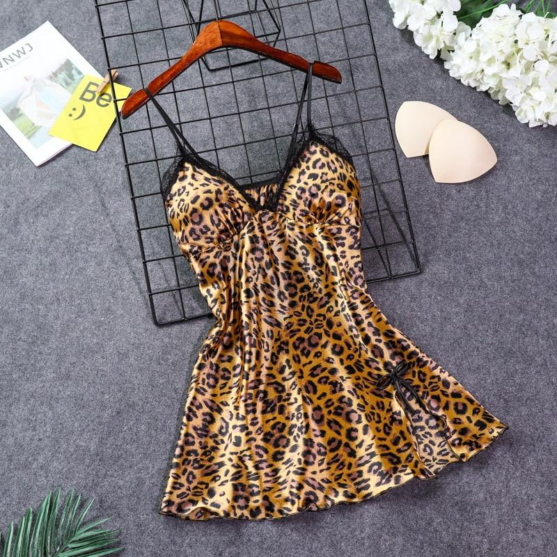 FZSLCYIYI Ladies Sexy Leopard  Nightdress Sling Backless Sleeveless Nighties V-neck Nightgown Nightdress  Sleepwear Nightwear