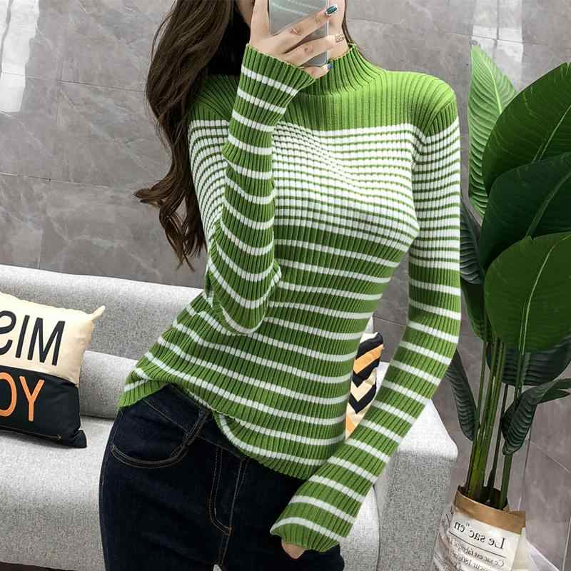 Turtleneck Ribbed Women Sweater High Elastic Stripe 2019 Fall Winter Sweater Women Slim Sexy Knitted Pullover Green White jumper