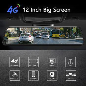 أحدث 12 بوصة 4G الروبوت مرآة الرؤية الخلفية سيارة DVR HD 1080P GPS WIFI ADAS اندفاعة كام المزدوج عدسة مسجل السيارات كاميرا مسجل DVRs 1