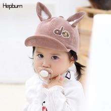 Hepburn Brand Corduroy Cotton Warm Child Baseball Cap Cute Rabbit ears toddler Kids Baby Boy Girl Hat For 2-12 months Baby недорого