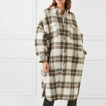 2020 New Turn Down Collar Loose Women Woolen Coat Plaid Casual Elegant Wool Jacket Women Long Coat Casaco Feminino Oversize Coat cheap sherhure Cashmere Polyester COTTON C200317011620 Ages 18-35 Years Old Turn-down Collar Single Breasted REGULAR Full Wool Blends