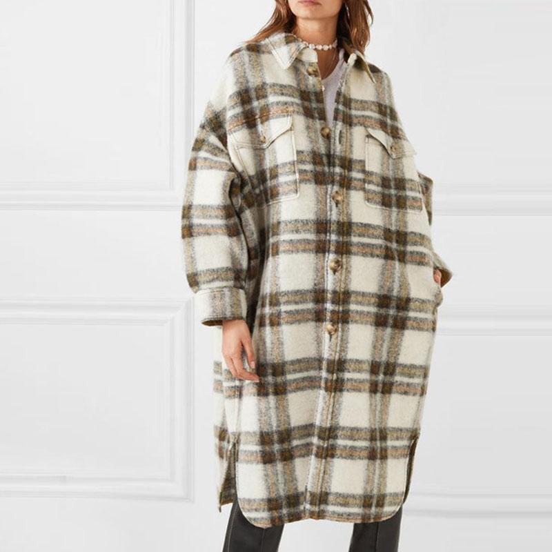 2020 New Turn Down Collar Loose Women Woolen Coat Plaid Casual Elegant Wool Jacket Women Long Coat Casaco Feminino Oversize Coat