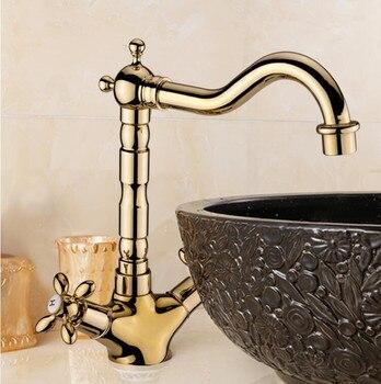 Vidric Basin Faucet Gold Brass Crane Bathroom Sink Faucet 360 Degree Swivel Dual Handle Kitchen Washbasin Mixer Taps