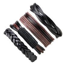 Мужской плетеный браслет ручной работы многослойный из натуральной
