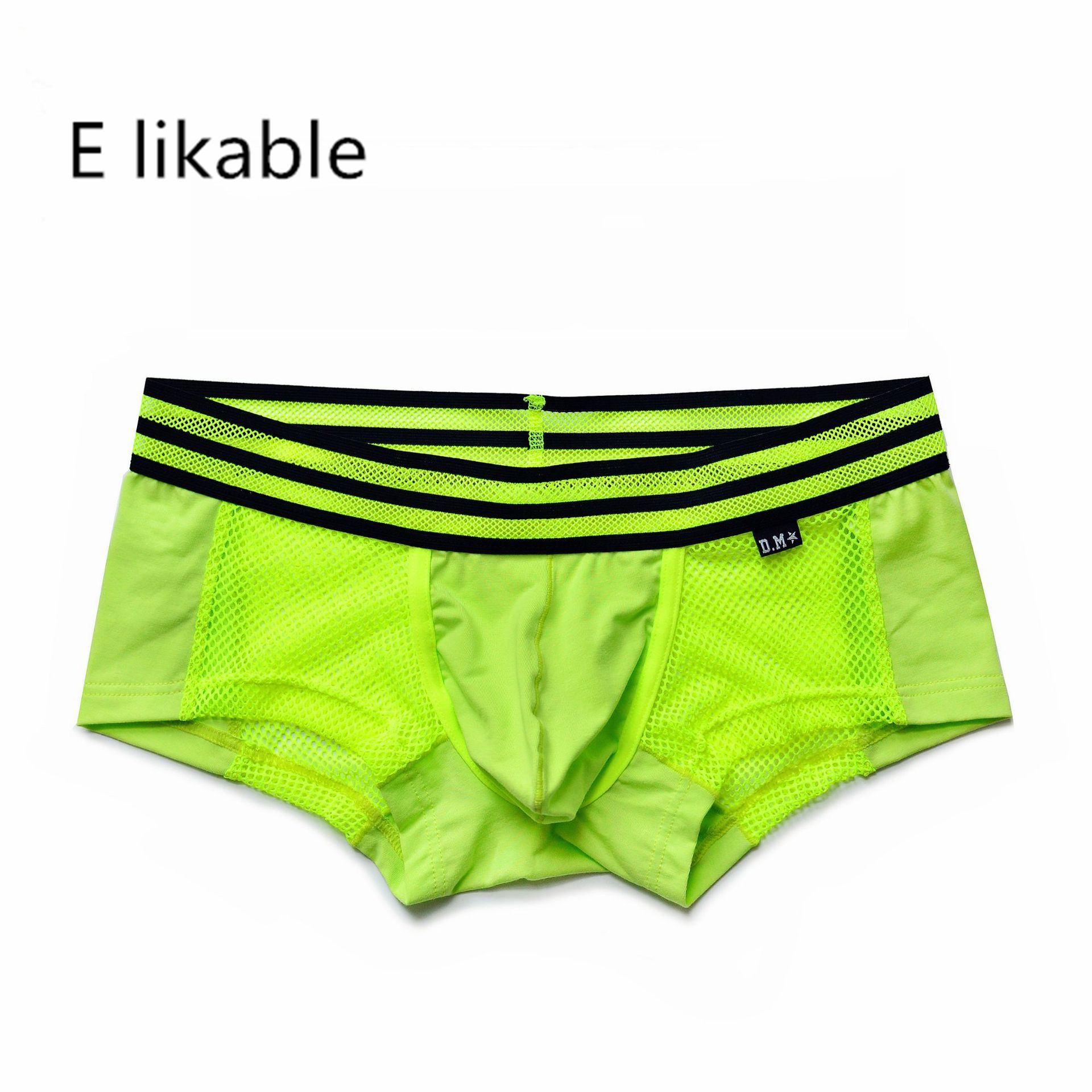 E Likable2020 European And American Youth New Men's Underwear Fashion Sexy Breathable Comfortable Low Waist Solid Color Boxer