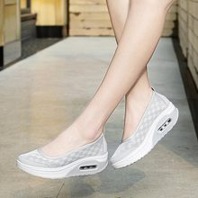 Plus Size Summer Sport Sneakers for Women Running Shoes Sports Platform Air Shoes Jogging Gray Fitness Workout Swing Rock A568 4 5 cm height toning shoes for women fitness walking slimming workout sneakers wedge platform air swing shoes for female