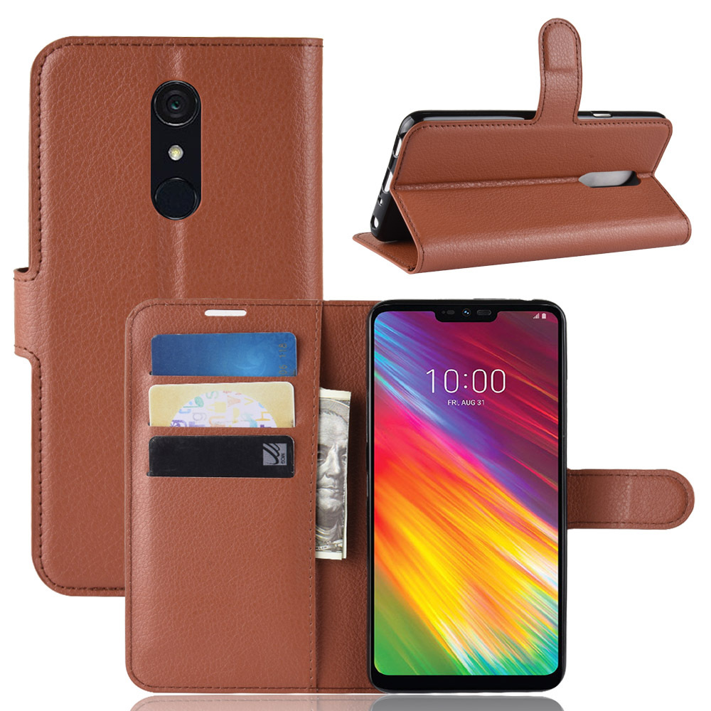 Luxury Wallet Flip PU Leather Case For LG Q9 G7 Simple Solid Color Litchi Grain Card Magnetic Buckle Phone Cases Soft Back Cover