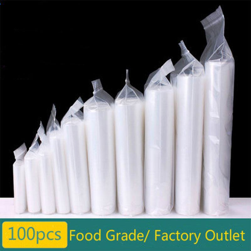 100pcs/lot Thickness 12 Wires Food Bags Various Sizes Clear Self Sealing Plastic Packaging Bags Zip Lock Poly Bags Zipper Bag