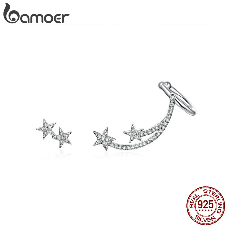 BAMOER Star Comet Asymmetry Stud Earrings For Women Clear CZ Bright Meteor Ear Stud 925 Sterling Silver Jewelry Femme BSE087