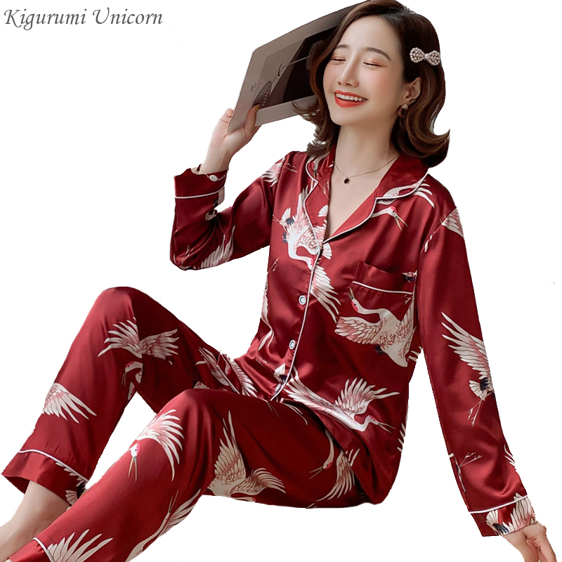 2 Piece Women Sleepwear Plus Size 3XL 4XL 5XL 85kg Nightwear Long Sleeve Silk Pajamas 2020 New Spring Autumn Print Cute Pyjamas