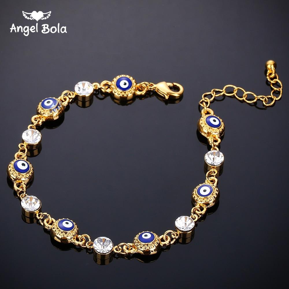 Moda jóias 7 olho azul turco pulseira banhado a ouro cor nunca desbotada azul mau olho cristal charme pulseiras para mulher