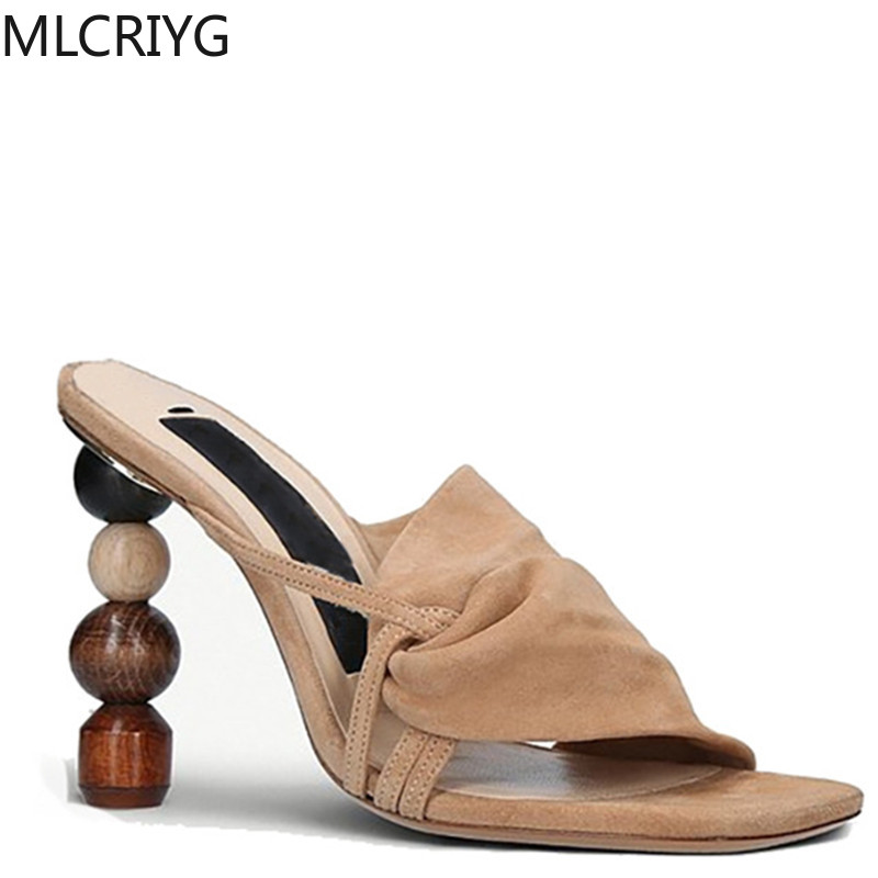 2020 New Opposite Sex Sandals Fashion Wild Catwalk Asymmetric With Leather Women's Shoes Wedges Shoes For Women