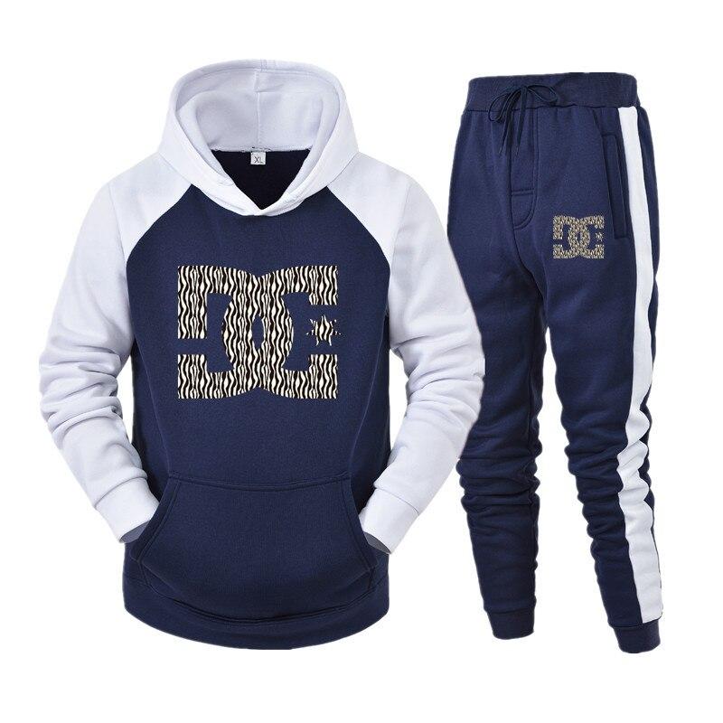 2020 esportes terno masculino esportes com capuz dc impressão casual esportes terno calças pulôver + calças de inverno