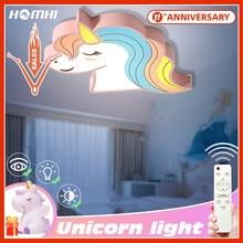 Room-Light Lamp Deco Unicorn Led-Ceiling-Lights Remote-Control Kids Children Cartoon