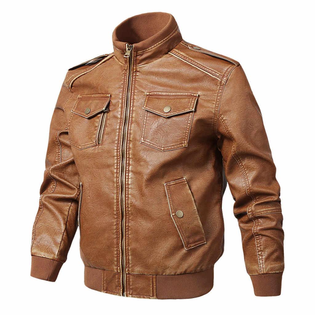 ファッションオートバイのレザージャケット男性の革のコートカジュアルスリムジッパー男の上着スタンド襟ジャケット Jaqueta #60