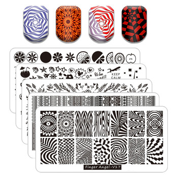 Nail Stamping Plates Marble Image Stamp Templates Geometric Printing Stencil Tools image