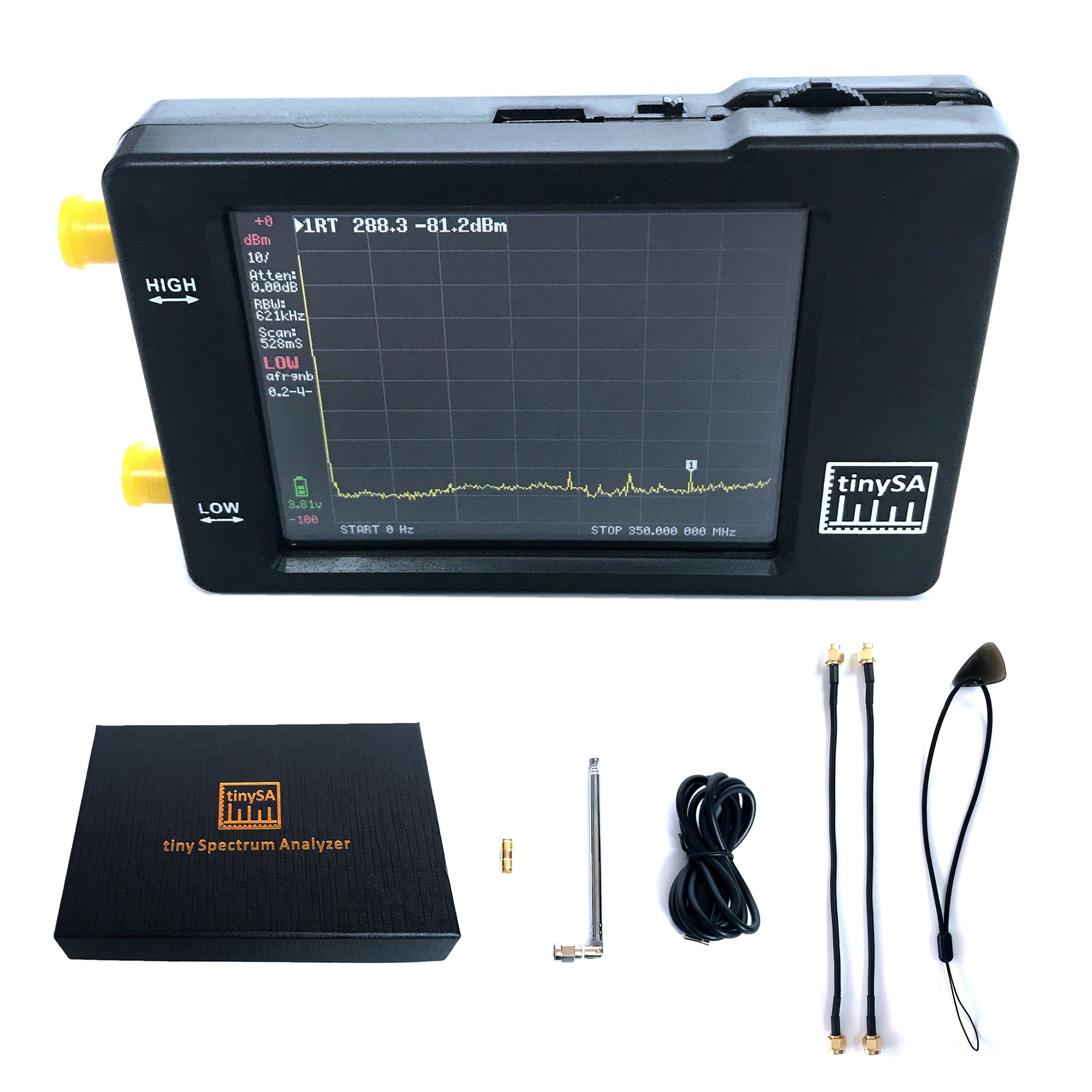 TinySA-analizador de espectro portátil de dos entradas, analizador de espectro de pantalla táctil de 2,8 pulgadas, frecuencia de entrada de 100KHz-350MHz
