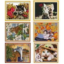 Joy Sunday printed cross-stitch kit cat pattern 14ct and 11c