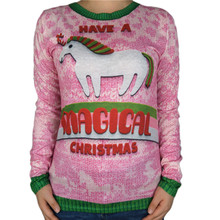 Cute Unicorn Printed Chirstmas T Shirt for Women Kawaii Girls Long Sleeve Christmas Shirts Holiday Party Xmas Tee Plus Size