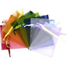 16 cores 50 pces e o empacotamento da jóia do multi-tamanho pode puxar sacos de organza, sacos do presente, sacos de empacotamento da jóia