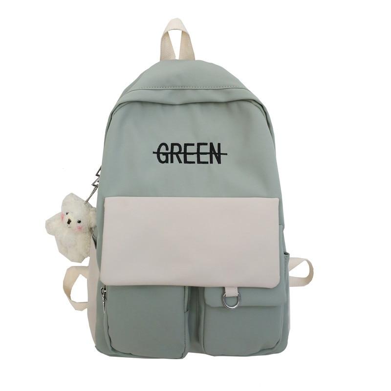 Schoolbag Female High School Junior High School Student Middle School Girl Female Contrast Color Forest Shoulder Bag Backpack