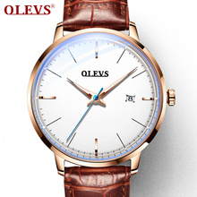 OLEVS 2019 men's watches top brand luxury business fashion leather Automatic clock Luminous waterproof Mechanical watch yelang v1015 upgrade version khaki number tritium gas blue luminous men automatic mechanical business watch leather watchband