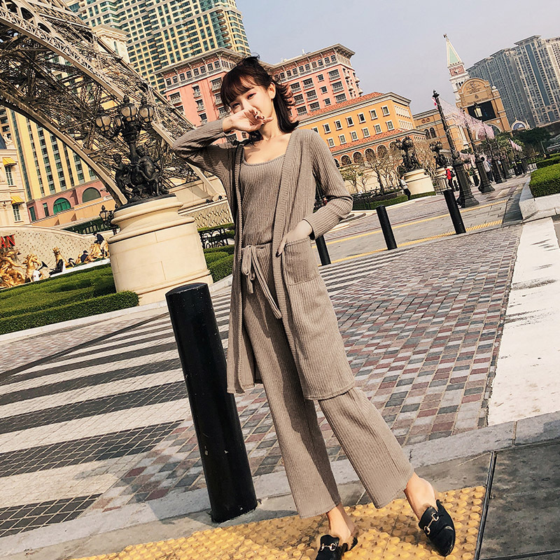 [Dowisi] On Behalf Of 2018 Summer New Style WOMEN'S Dress Long-sleeved Cardigan Knitted Loose Pants Three-piece Set-F6306