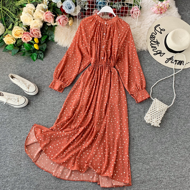 Elegant Women Dot Dress Women Sexy Bohemian Polka Chiffon Dress 2020 Spring Autumn Casual Party Office Shirts Vestidos