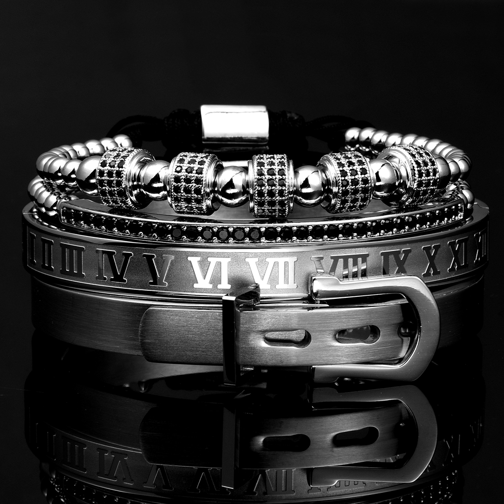 Luxury Roman Royal Classic Stainless Steel Bangle Cuff Bracelets Fashion Titanium Steel Type C Twisted Numeral Bangle For Men