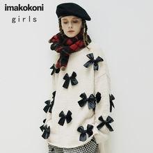 Оригинальный свитер imakokoni с бантом Женский Осенний Свободный