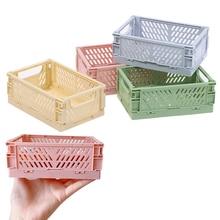 Mini-folding Plastic Storage Box For Student Desk Finishing Tape Stationery For Skincare Products Small Basket