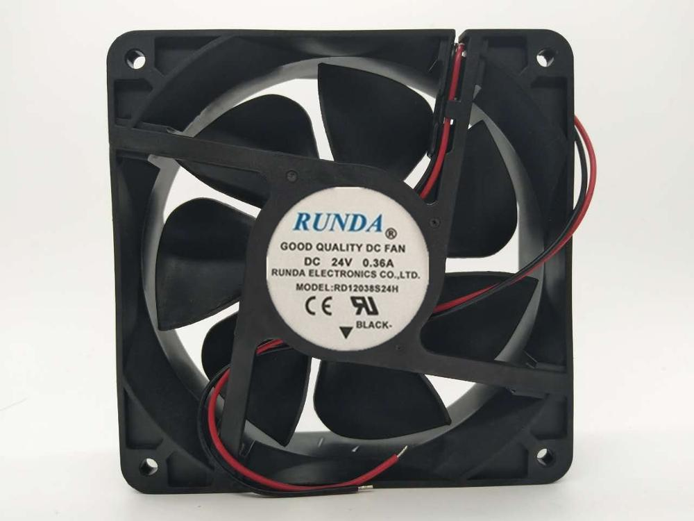 Free Shipping For Emacro RUNDA RD12038S24H DC 24V 0.36A 120x120x38mm 2-wire Server Square Fan