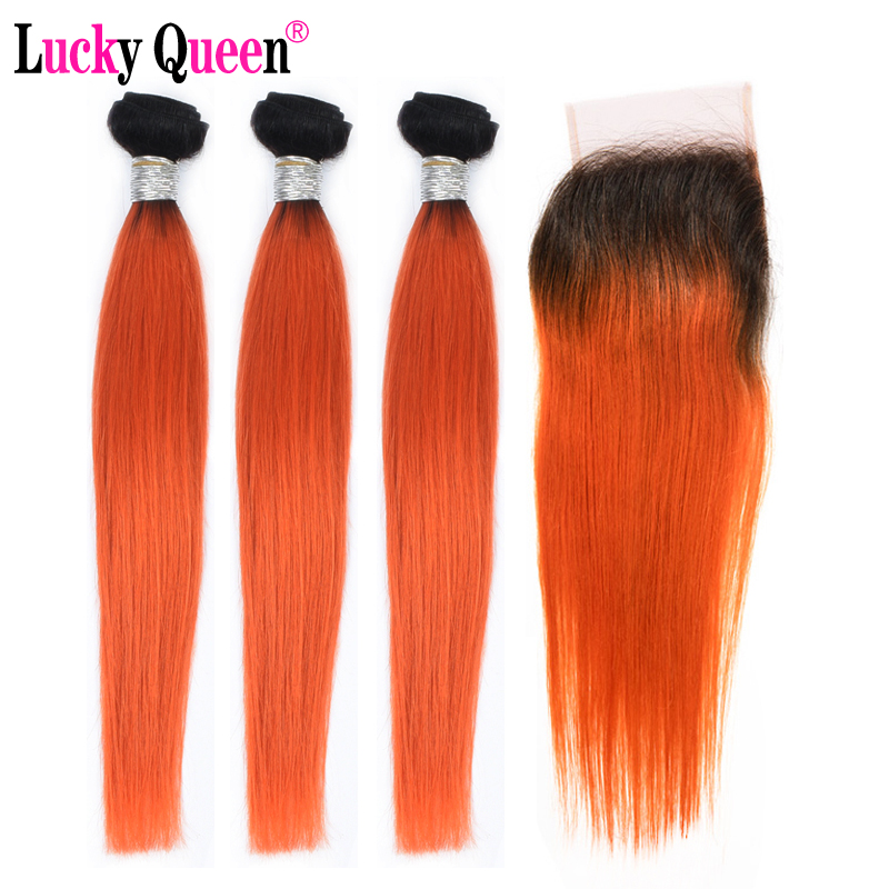 Lucky Queen Hair Peruvian Straight Hair Bundles With Closure Remy 1B/Orange Ombre Human Hair 3/4 Bundles With Lace Closure