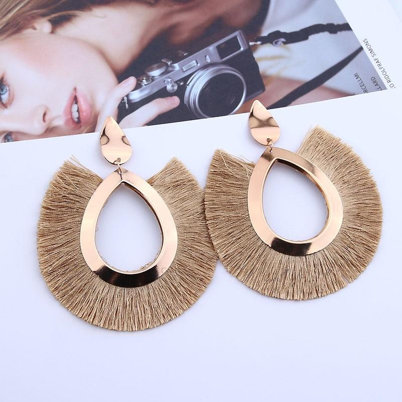 New Bohemian Handmade Statement Tassel Earrings For Women Vintage Round Long Drop Earrings Wedding Party Bridal Fringed Jewelry