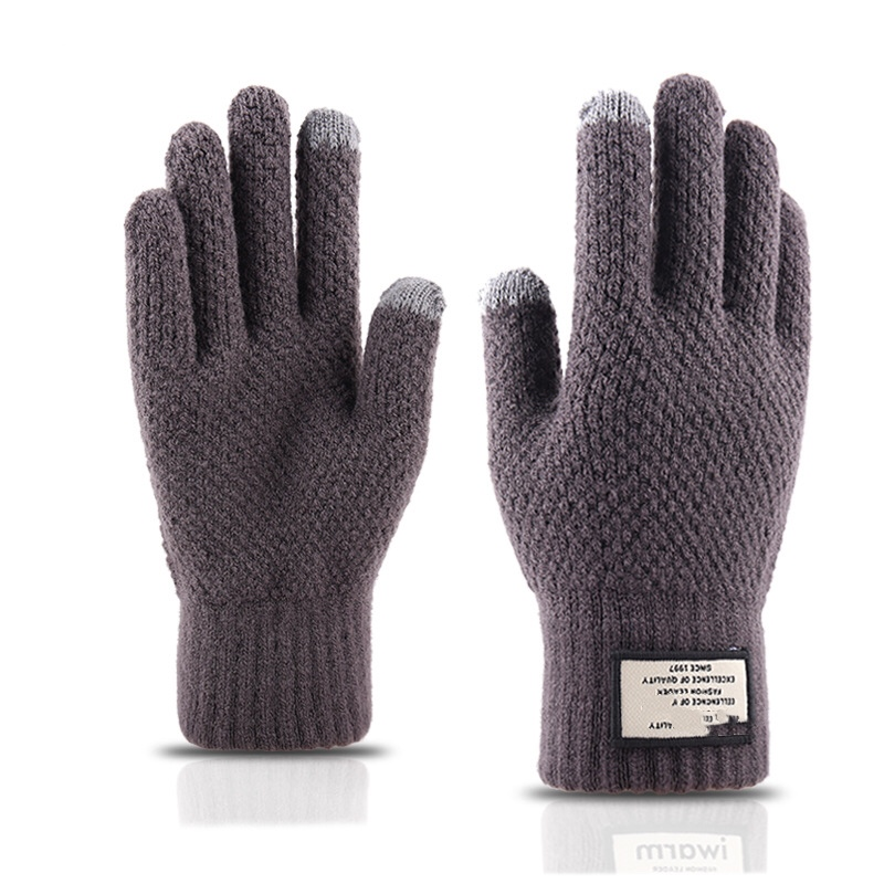 2pairs-New Knitted Warm Touch Screen Gloves For Men's Autumn And Winter Thickened Woolen Gloves Wholesale