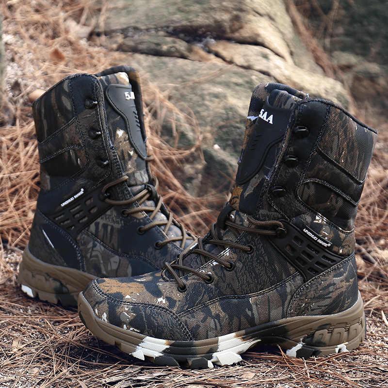 Homens deserto tático militar botas de trabalho dos homens sapatos de segurança do exército camuflagem combate botas militares tacticos zapatos sapatos masculinos