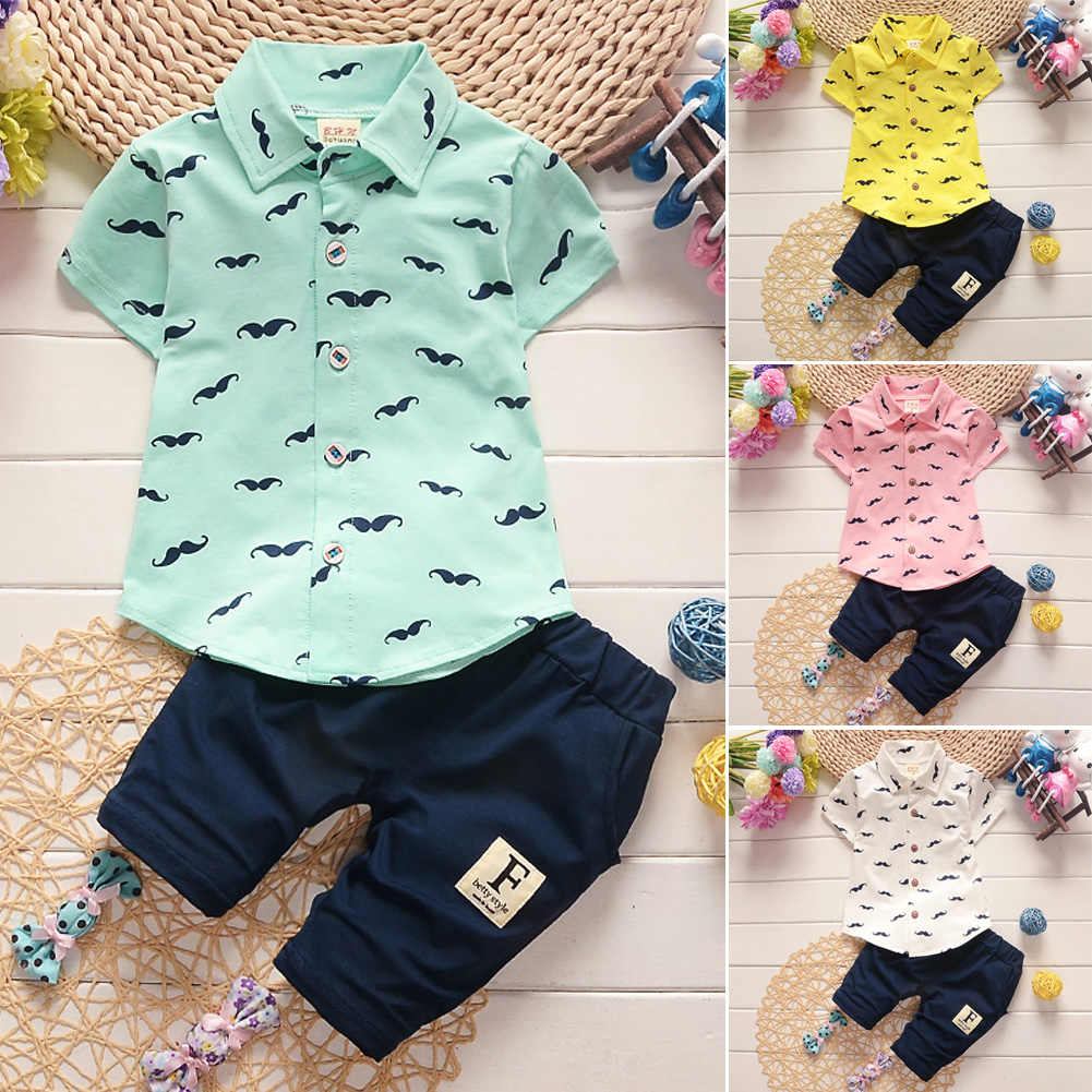 Newborn Toddler Baby Boy Gentleman Suit Summer Clothes Set Shirt +Pants Shorts Outfits Kids Boys Clothing