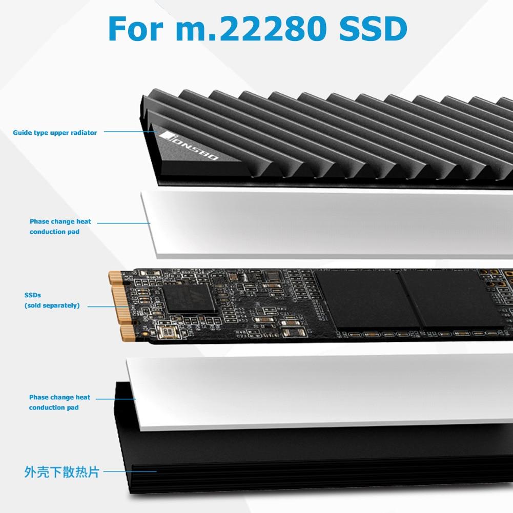 Jonsbo M.2 SSD NVMe Heat Sink M2 2280 Solid State Hard Disk Aluminum Heatsink with Thermal Pad Desktop PC Thermal Gasket 5