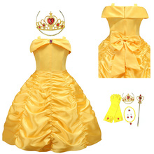 Girls Belle Princess Dress Kids Ball Gown Costume For Beauty and the Beast Children Halloween Birthday Party Cosplay Long Dress summer elegant girls clothing belle princess dress rapunzel birthday girl party dress kids clothes beauty and the beast costume
