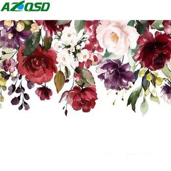Pintura al óleo por números AZQSD, decoración Floral DIY, pintura acrílica sin marco, pintura por números, arte abstracto sobre lienzo, regalo único