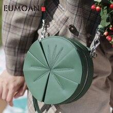 EUMOAN Leather lady bag, green one-shoulder retro cowhide round flower girl stiletto bag