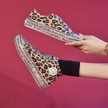 Rivet Leopard Canvas Shoes Women High Top Sneakers Women Vul