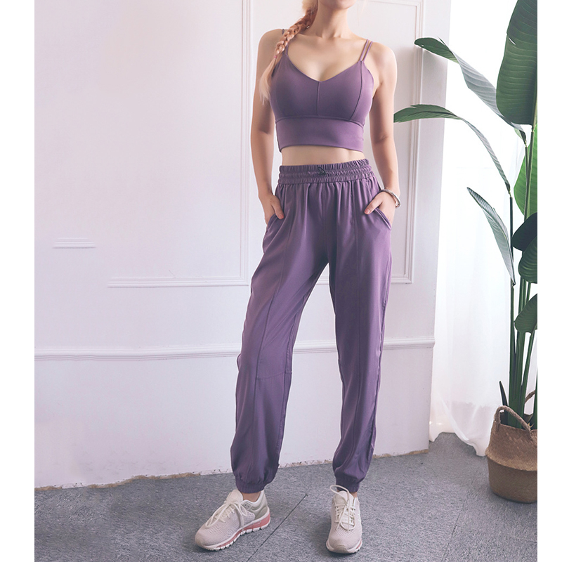 New Women Sportswear Solid Loose Sports Pants Bra Yoga Set Casual Fitness Gym Workout Run Jogging Clothes XXL Sport Suits Female image