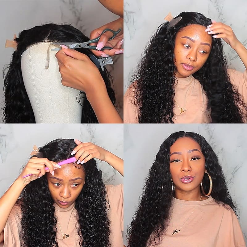 Ultimate DealÊYyong Closure Wigs Hairline Lace Baby-Hair Water-Wave Pre-Plucked 100%Human-Hair-Wig